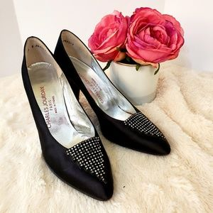 Vintage Charles Jourdan Black Satin Heels Pump 8.5